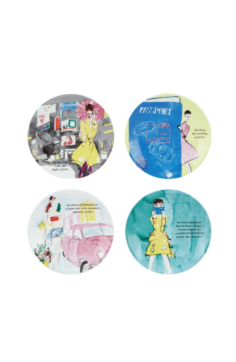 KATE SPADE NEW YORK 'places to go' tidbit plates, Main, color, 000