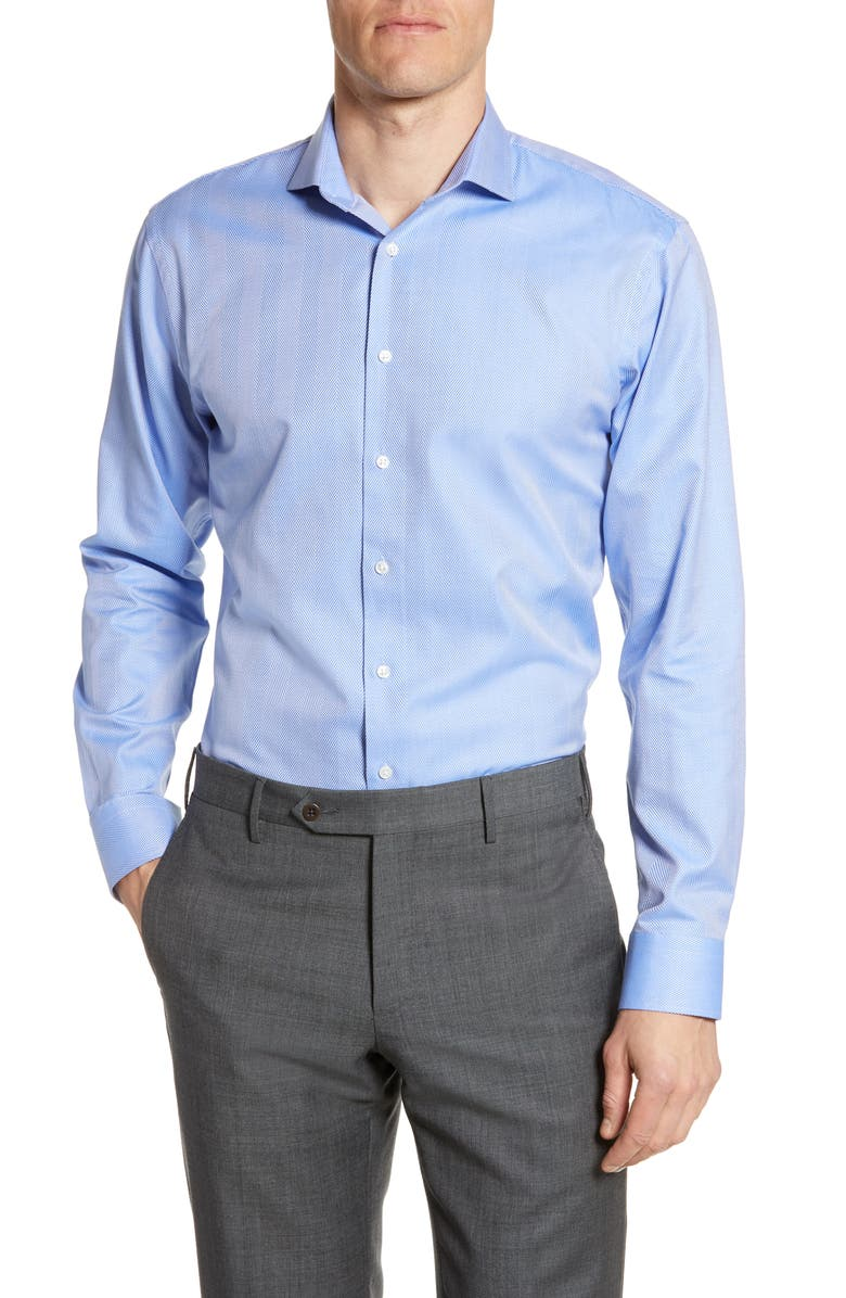 NORDSTROM Trim Fit Herringbone Dress Shirt, Main, color, BLUE AZURITE
