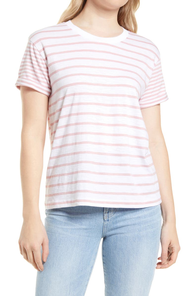 CASLON<SUP>®</SUP> Short Sleeve Top, Main, color, WHITE- PINK MIX STRIPE