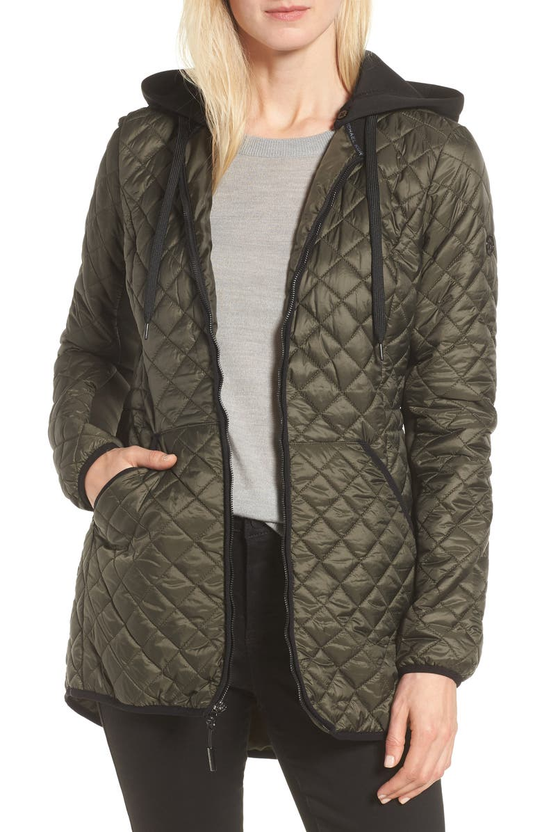 MICHAEL MICHAEL KORS Diamond Quilted Hybrid Hooded Jacket, Main, color, 306