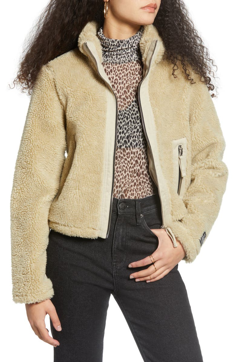 BDG URBAN OUTFITTERS Contrast Panel Fleece Jacket, Main, color, 900