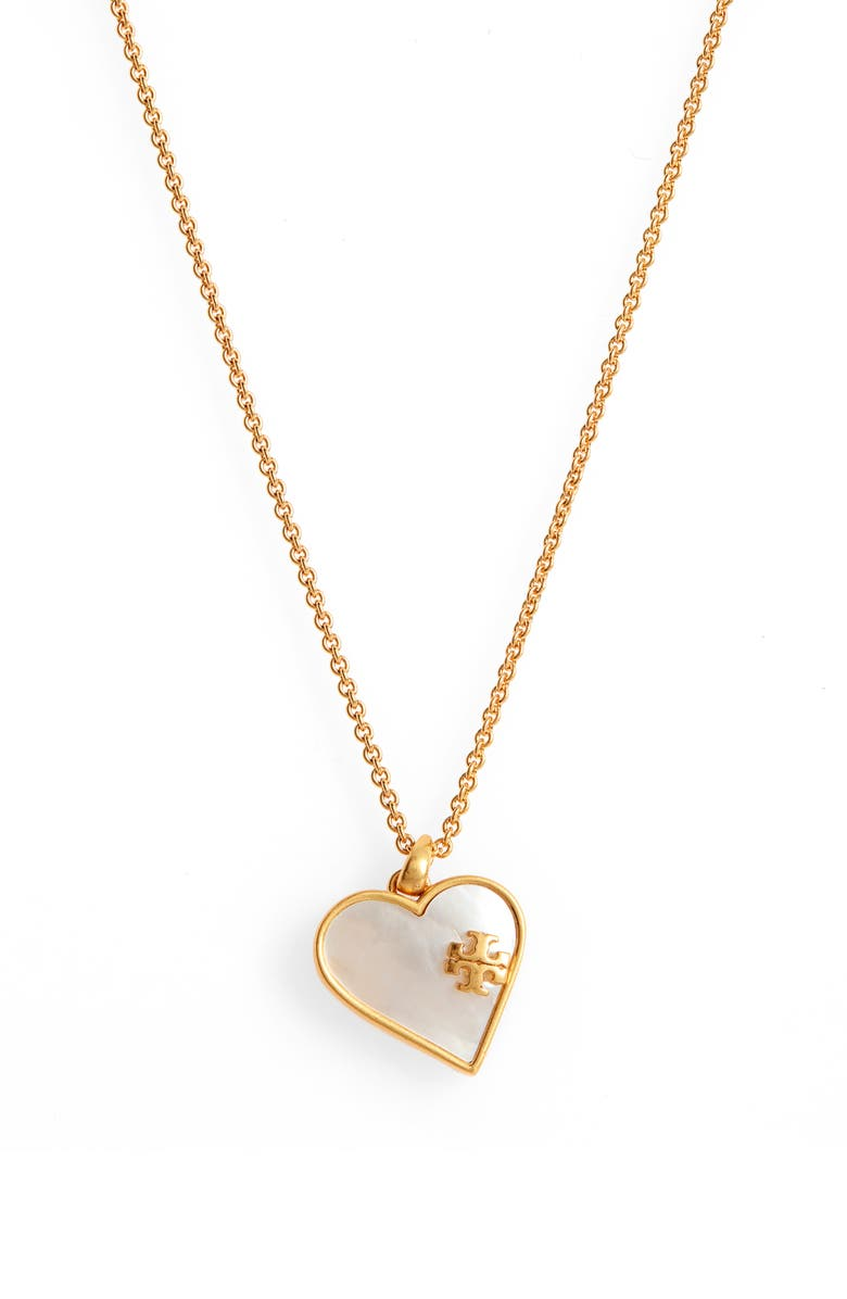 TORY BURCH Heart Pendant Necklace, Main, color, ROLLED BRASS / MOTHER OF PEARL