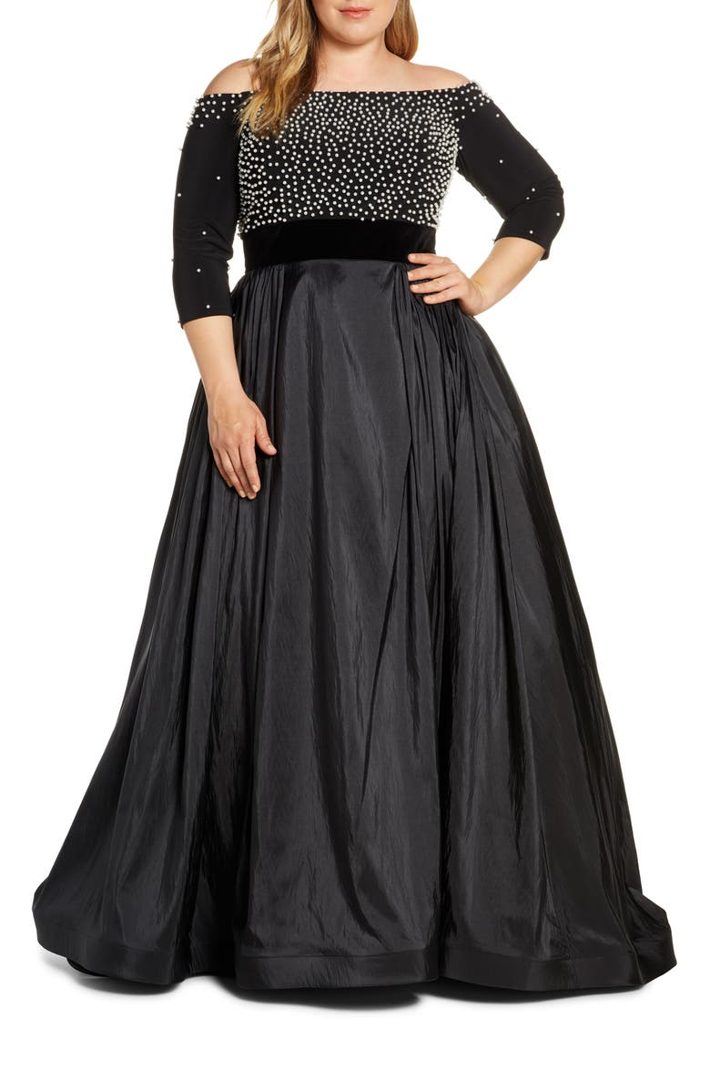MAC DUGGAL Pearl Beaded Off the Shoulder Ballgown, Main, color, Black
