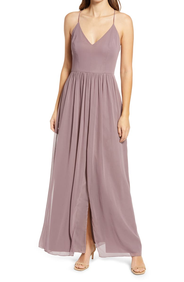 DESSY COLLECTION Spaghetti Strap Chiffon A-Line Gown, Main, color, FRENCH TRUFFLE
