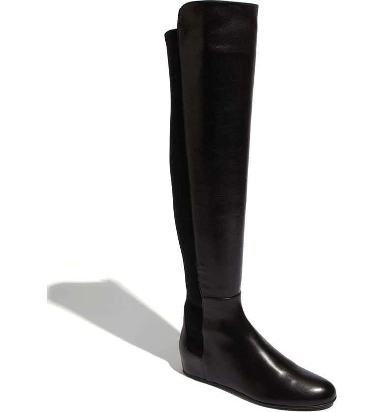 STUART WEITZMAN 'Mainline' Stretch Fabric & Nappa Leather Over the Knee Boot, Main, color, BLACK NAPPA