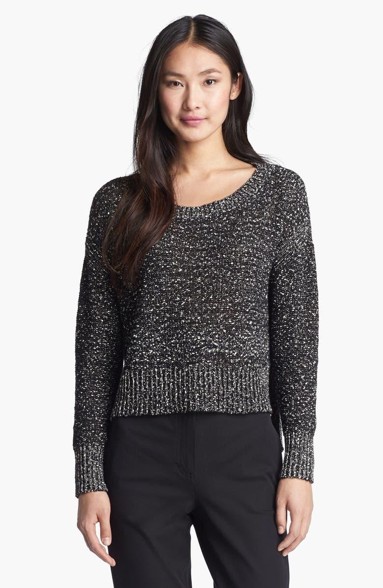 EILEEN FISHER Wrapped Cotton Nubble Sweater, Main, color, BLACK/ WHITE