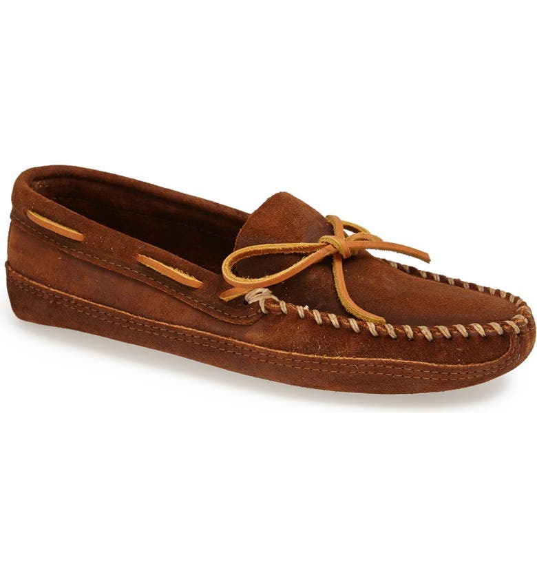 MINNETONKA Suede Sole Moccasin, Main, color, BROWN