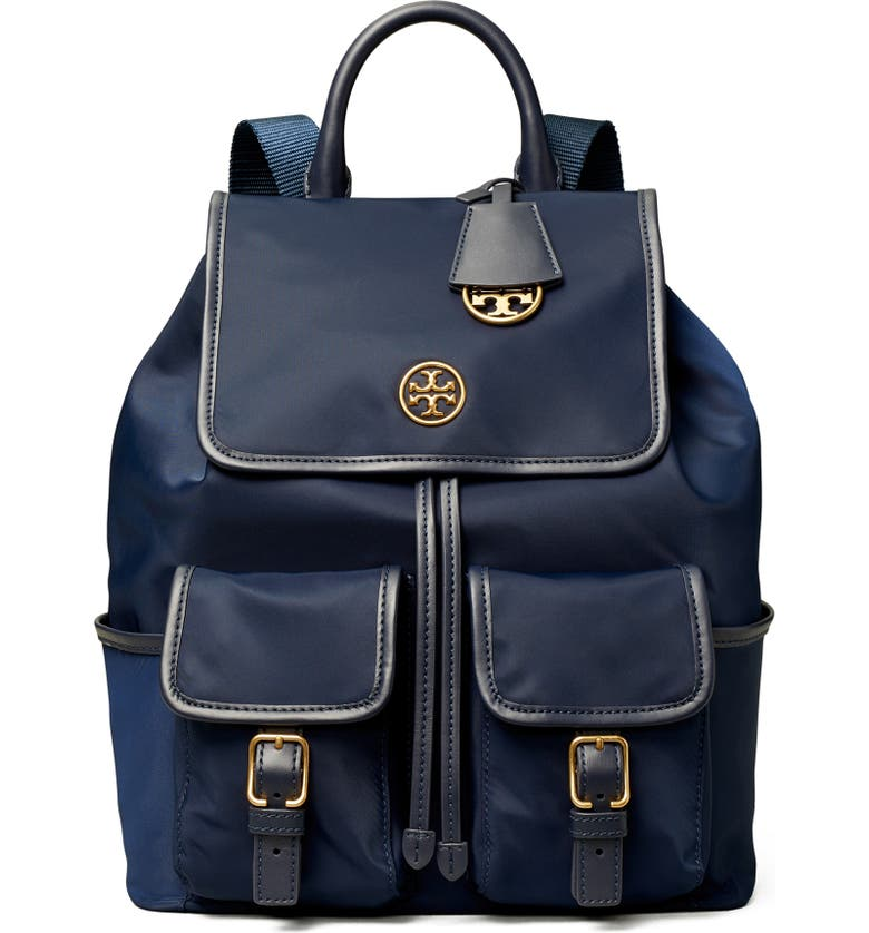 TORY BURCH Piper Flap Nylon Backpack, Main, color, ROYAL NAVY