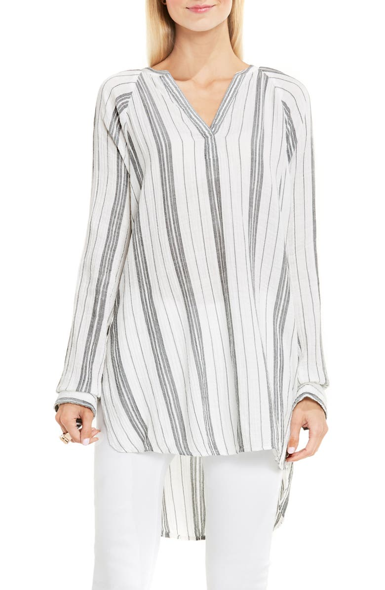 TWO BY VINCE CAMUTO Stripe Cotton Gauze Tunic, Main, color, NEW IVORY