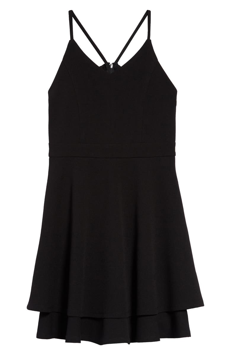 LOVE, NICKIE LEW Illusion Back Skater Dress, Main, color, BLACK