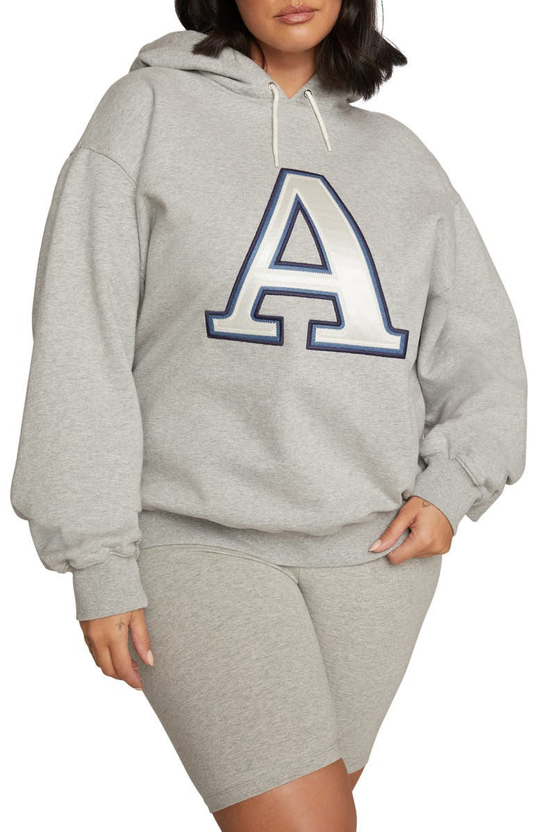 GOOD AMERICAN Initial Oversize Hoodie, Main, color, A - HEATHER GREY
