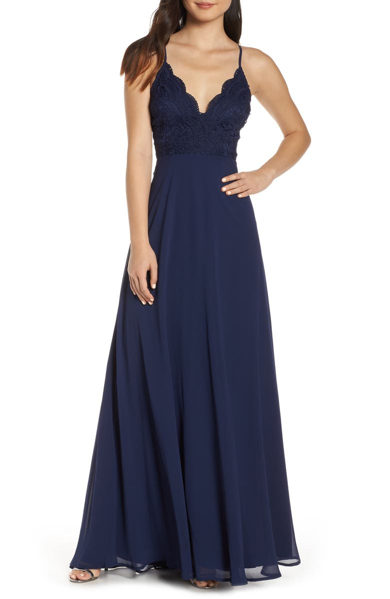 LULUS Madalyn V-Neck Lace & Chiffon A-Line Gown, Main, color, 410