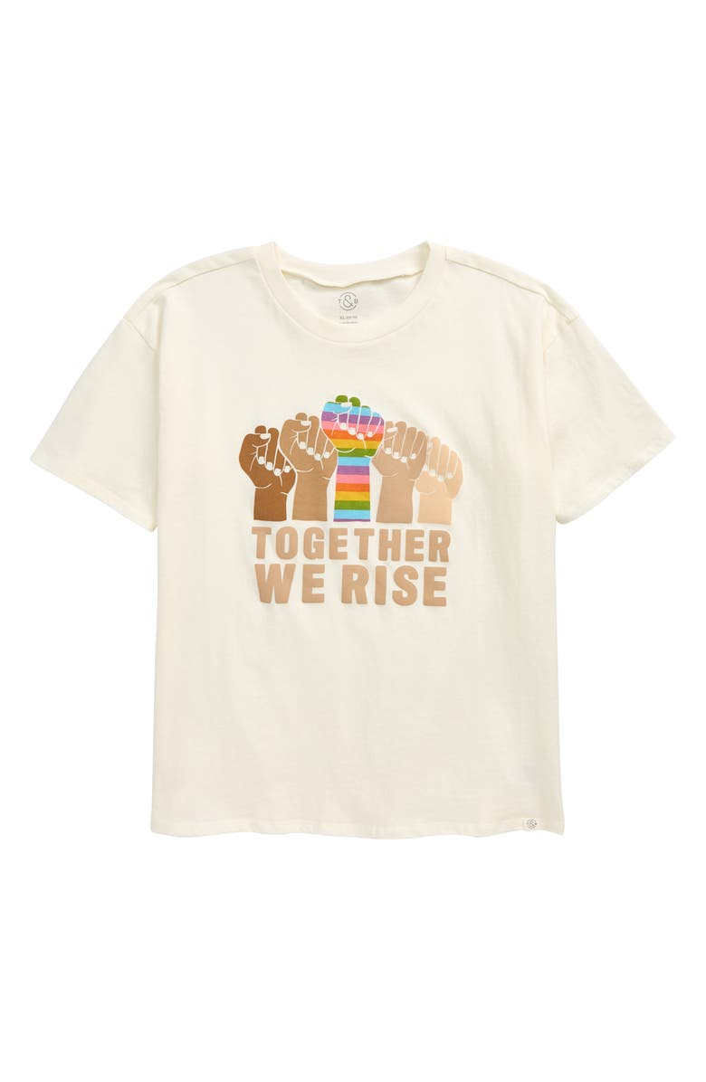 TREASURE & BOND Kids' Oversize Graphic Tee, Main, color, IVORY ANTIQUE TOGETHER WE RISE