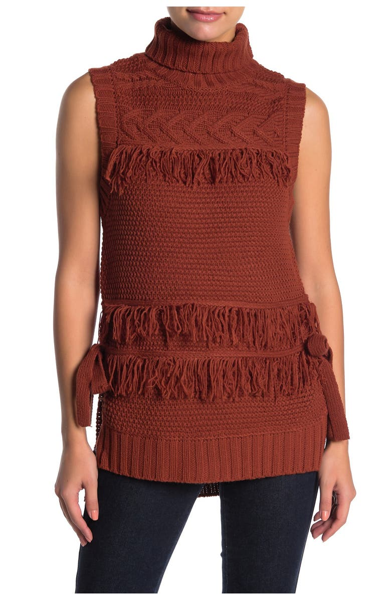 MOON RIVER Fringe Knit Sleeveless Top, Main, color, RUST