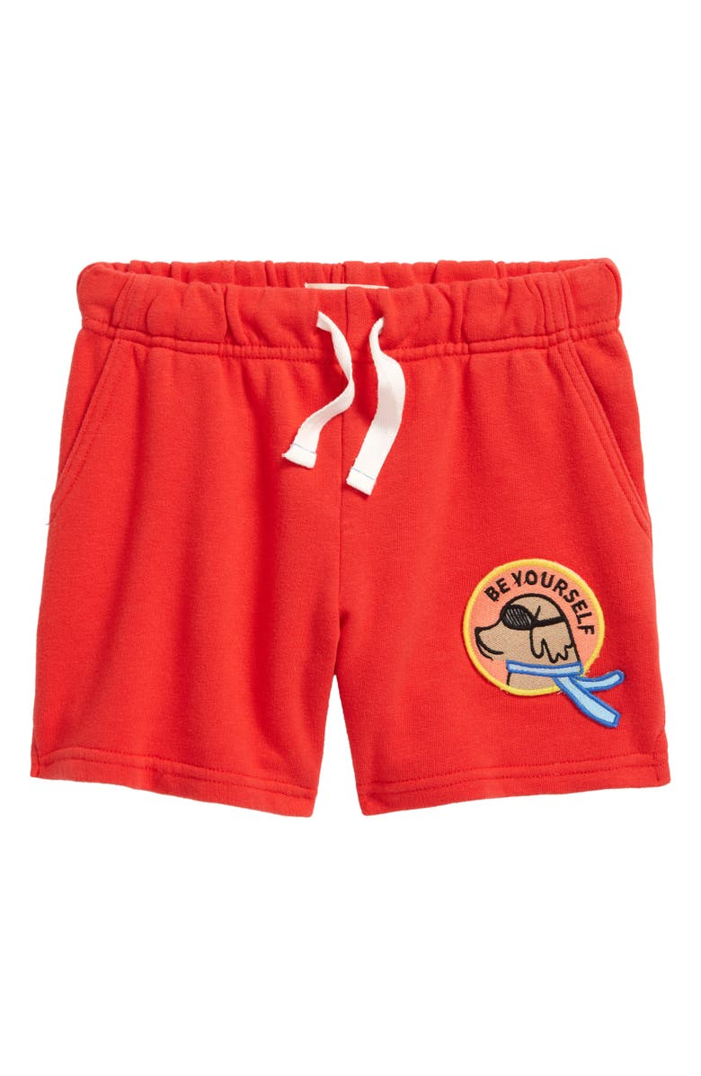 TUCKER + TATE x Smithsonian Kids' Be Yourself Patch Drawstring Shorts, Main, color, RED TOMATO BE YOURSELF