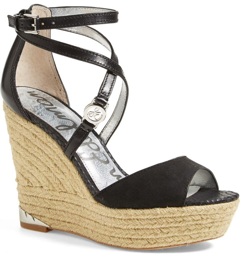 SAM EDELMAN 'Turner' Espadrille Wedge Sandal, Main, color, 001