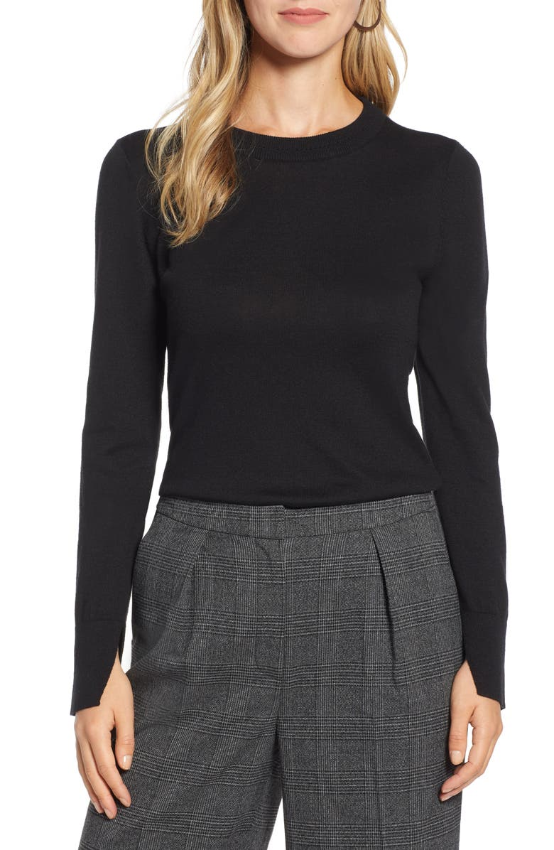 HALOGEN<SUP>®</SUP> Slit Sleeve Sweater, Main, color, 001