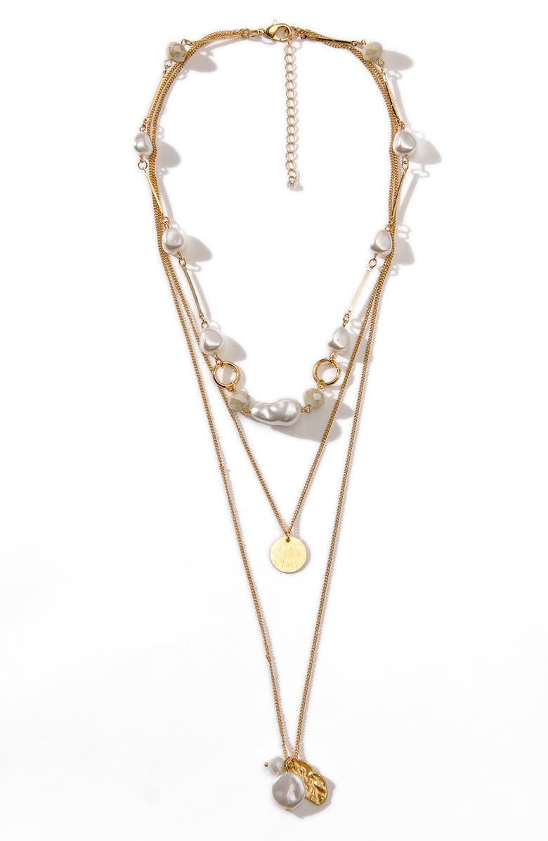 8 OTHER REASONS x Jenn Im Perla Imitation Pearl Layer Necklace, Main, color, GOLD