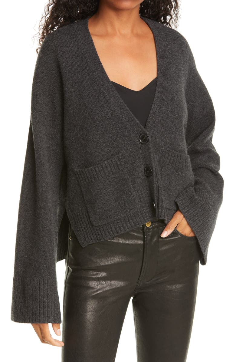FRAME Luxe Button Front Cashmere Cardigan, Main, color, CHARCOAL HEATHER