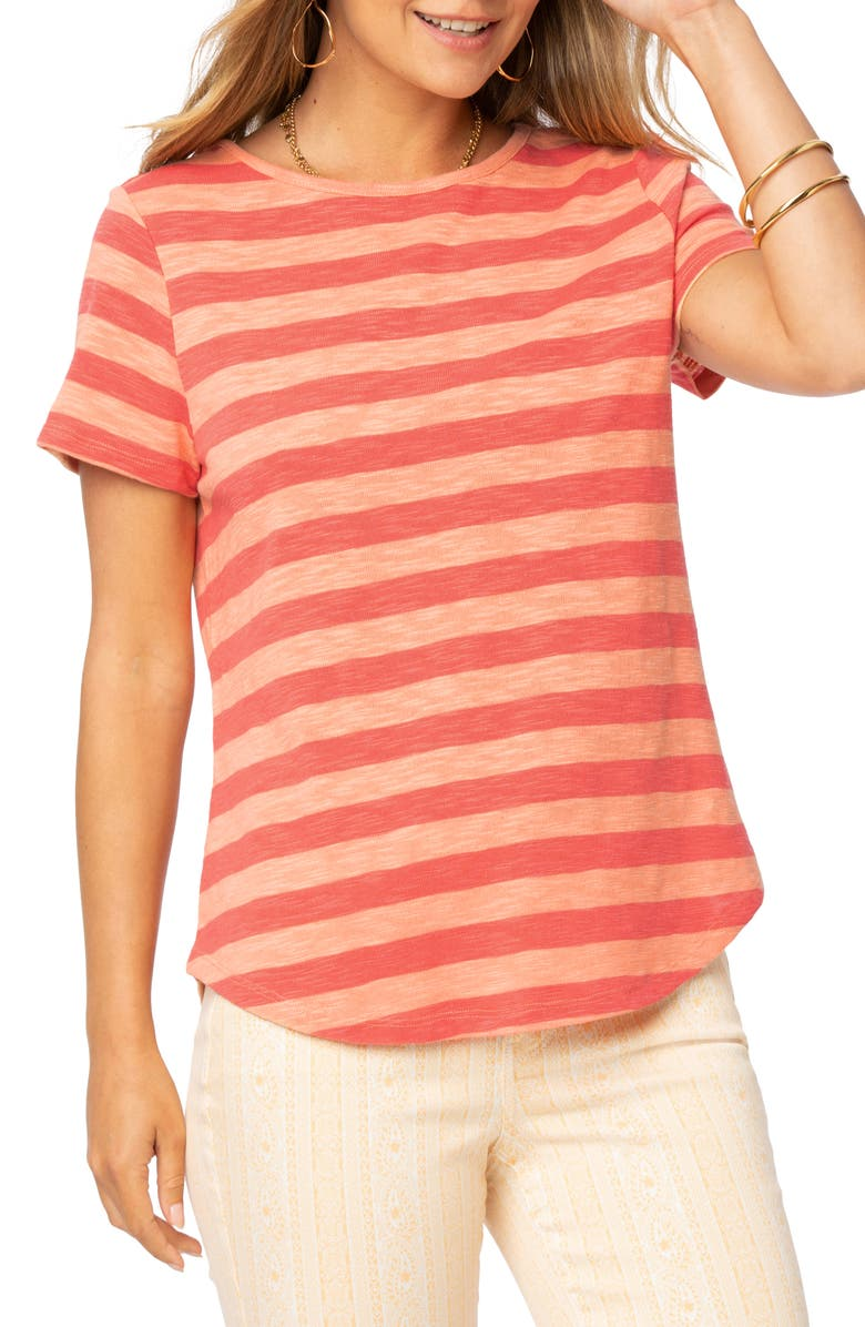 NYDJ Rugby Stripe Short Sleeve T-Shirt, Main, color, FRUIT PUNCH