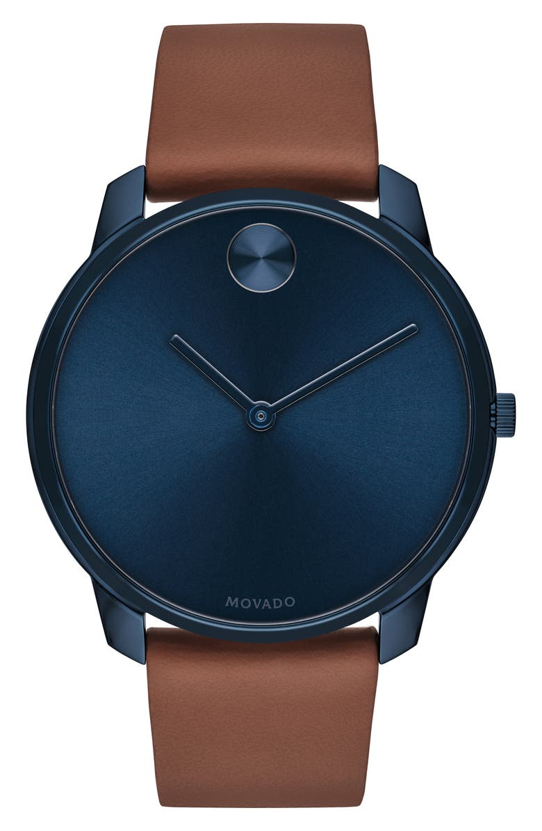 MOVADO Bold Leather Strap Watch, 42mm, Main, color, BROWN/ BLUE