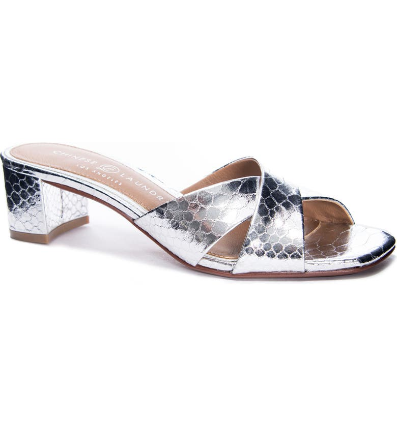 CHINESE LAUNDRY Luna Slide Sandal, Main, color, SILVER FAUX LEATHER