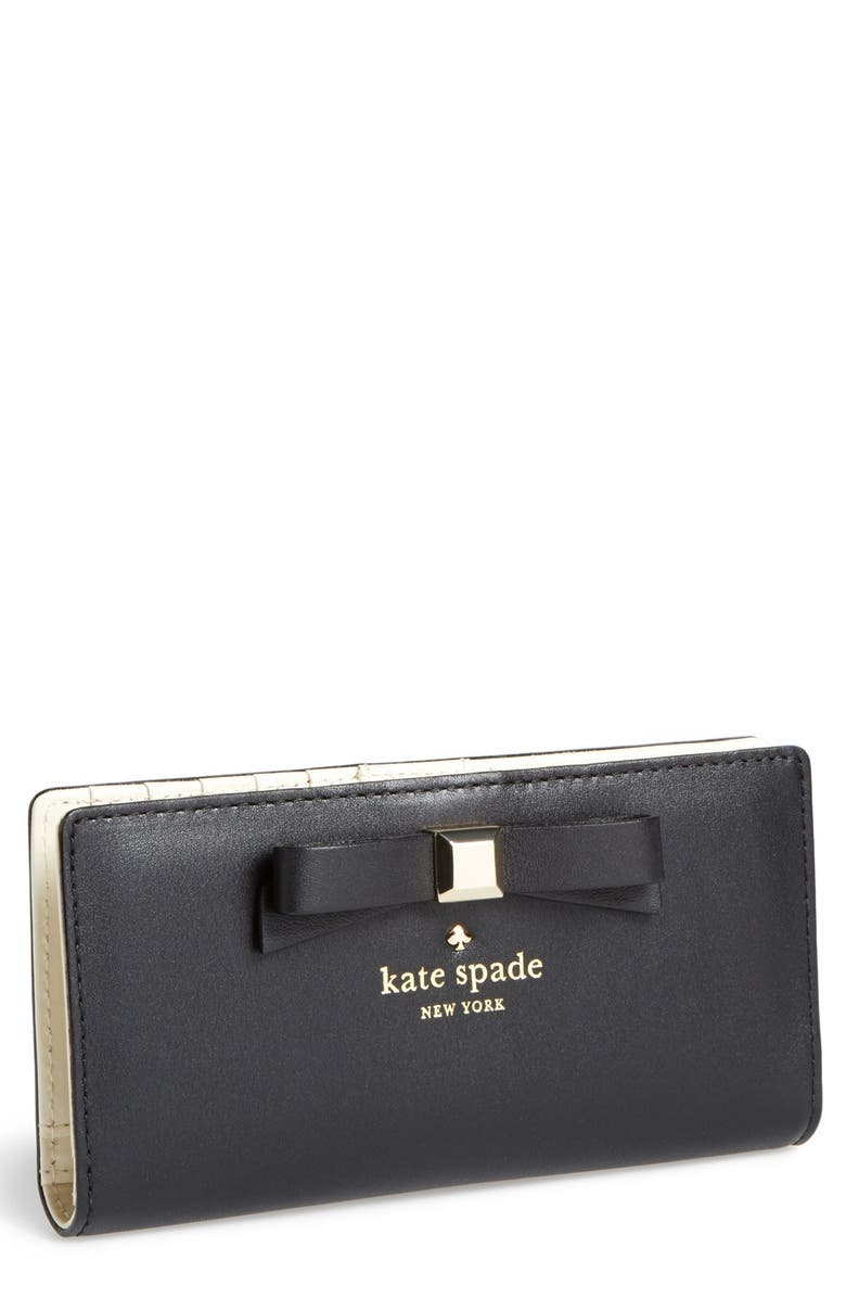 KATE SPADE NEW YORK 'holly street - stacy' wallet, Main, color, Black