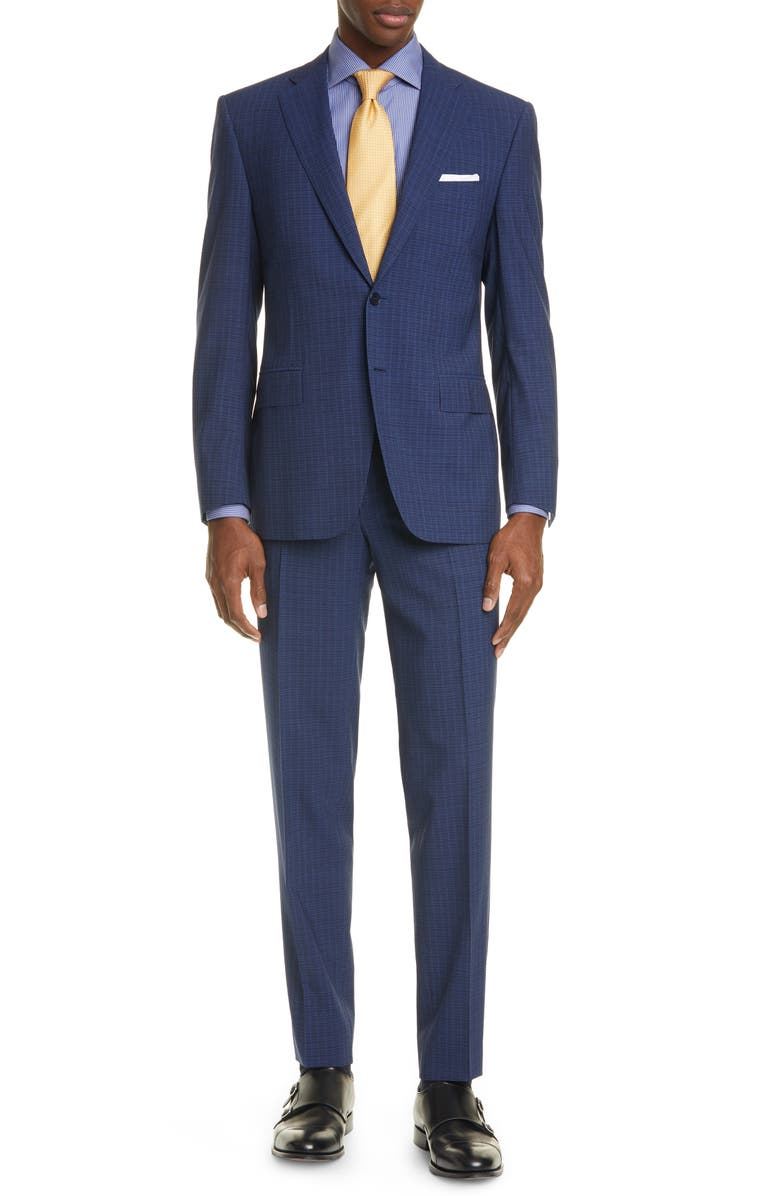 CANALI Siena Soft Classic Fit Check Wool Suit, Main, color, 410