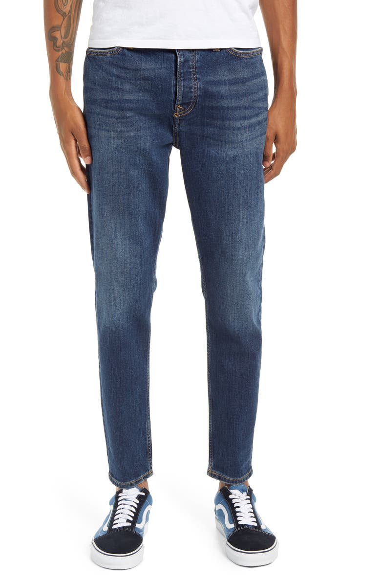 TOPMAN Carrot Tapered Jeans, Main, color, Blue