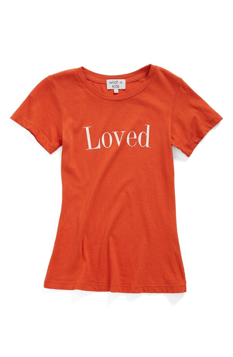 WILDFOX 'Loved' Graphic Cotton Tee, Main, color, INDIA RED