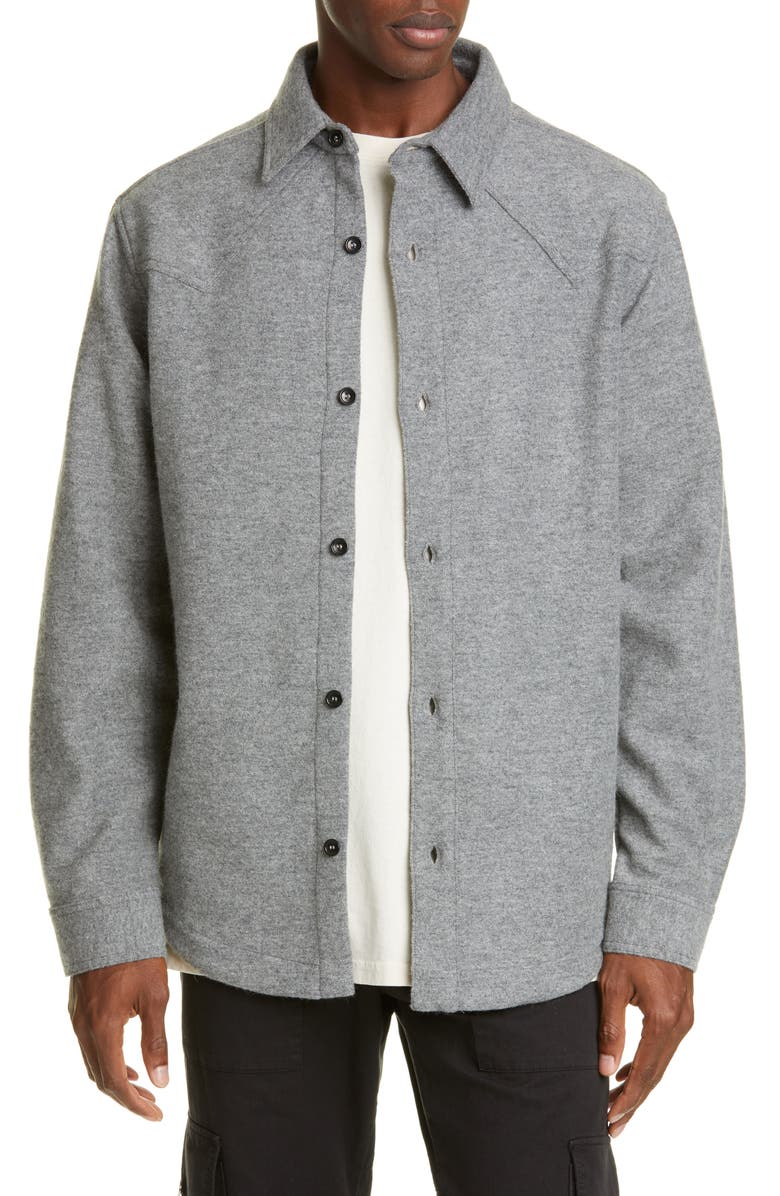 BILLY LOS ANGELES Oversize Button-Up Wool Blend Western Shirt, Main, color, 020