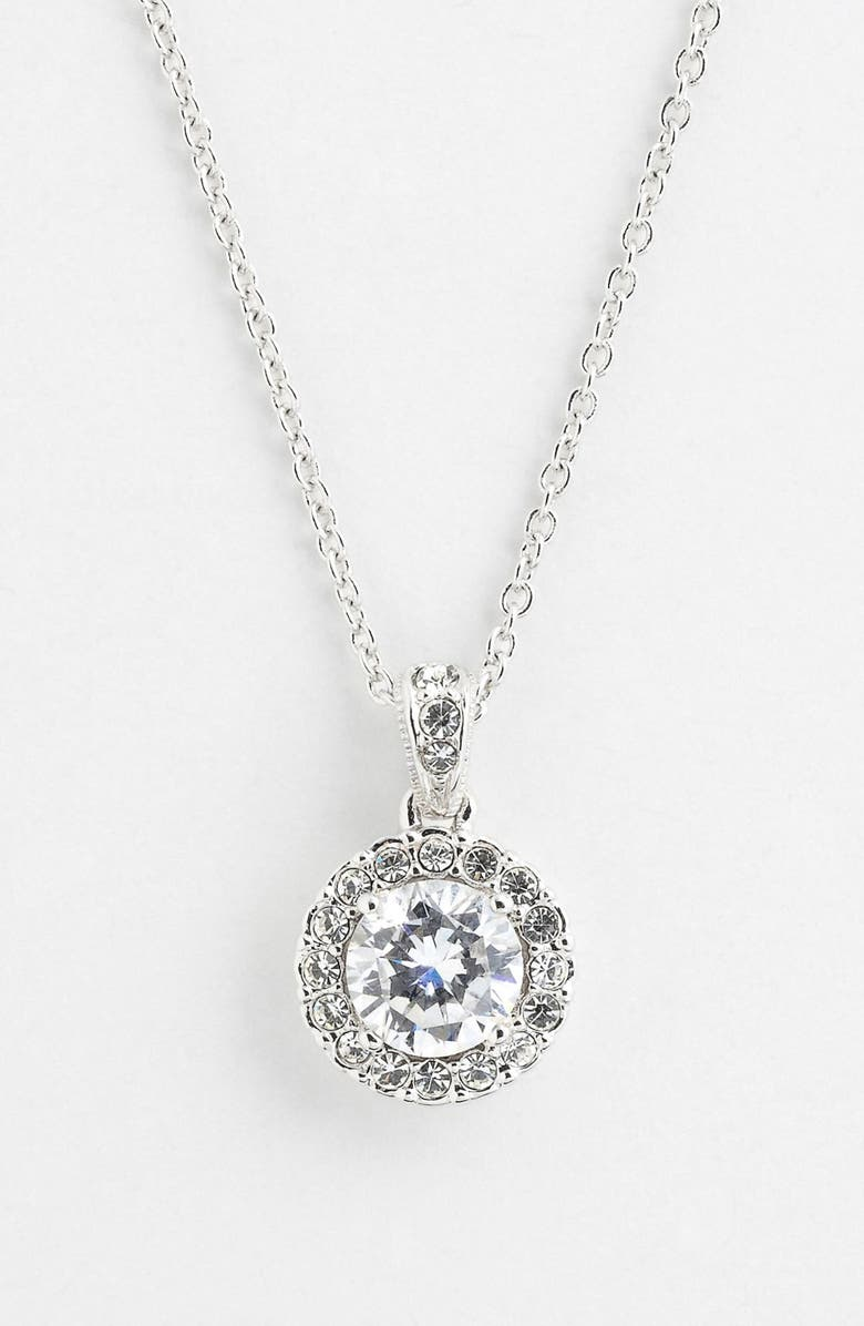 NADRI Framed Round Cubic Zirconia Necklace, Main, color, 040