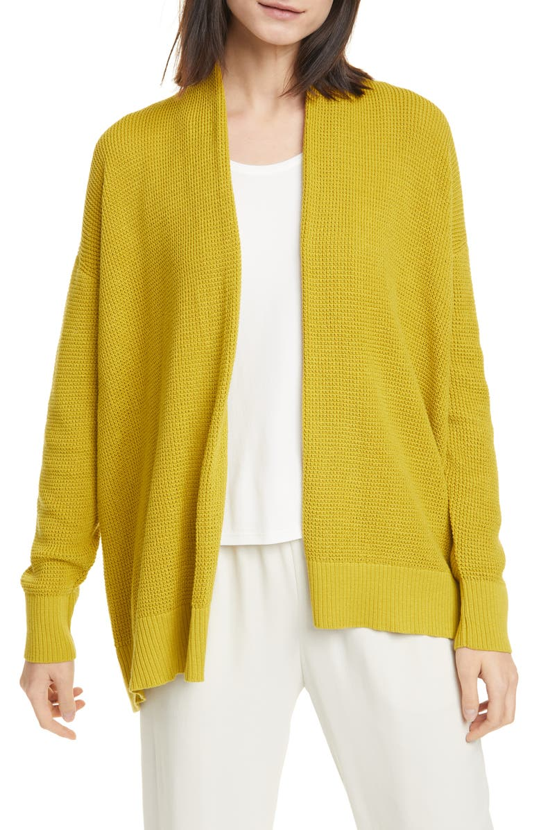 EILEEN FISHER Organic Cotton Open Front Cardigan, Main, color, 362