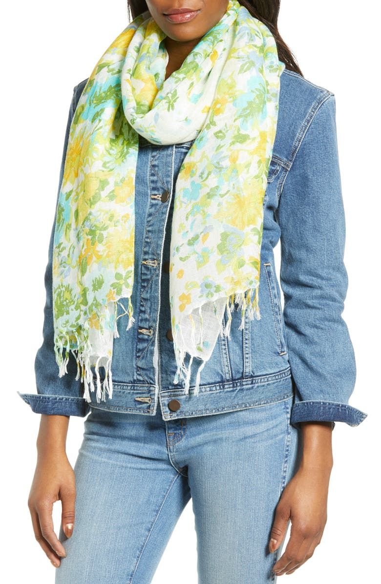 NORDSTROM Painted Linen Blend Scarf, Main, color, 100
