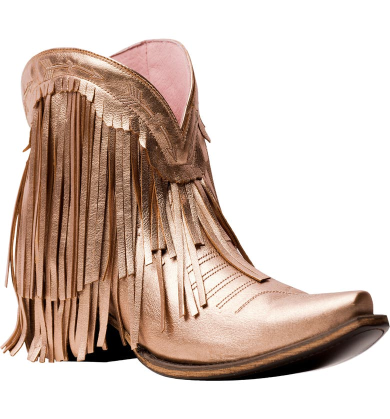 LANE BOOTS x Junk Gypsy Spitfire Fringe Bootie, Main, color, ROSE GOLD METALLIC LEATHER