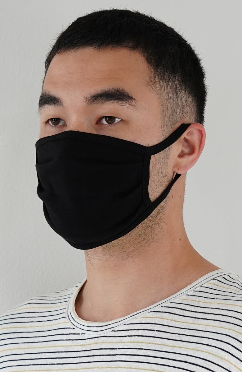 NORDSTROM 6-Pack Adult Pleated Cotton Face Masks, Main, color, BLACK
