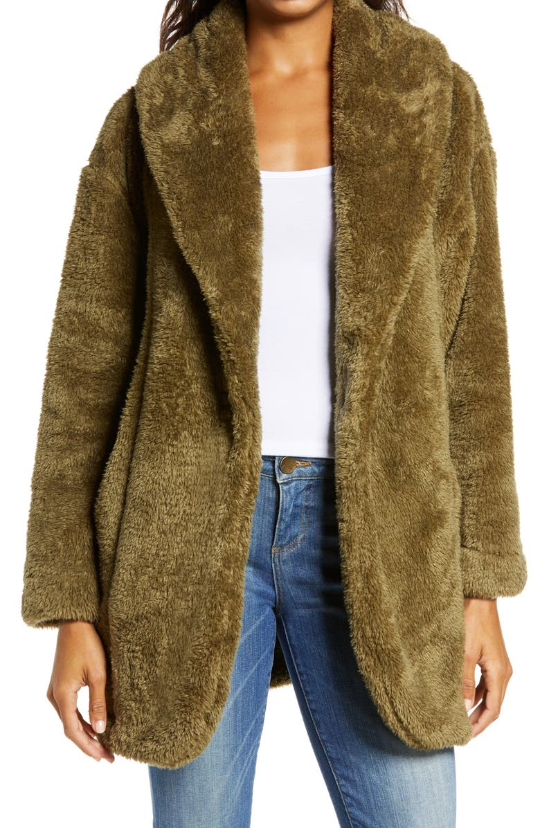 UGG<SUP>®</SUP> Annona Faux Shearling Travel Cardigan, Main, color, WILD OLIVE