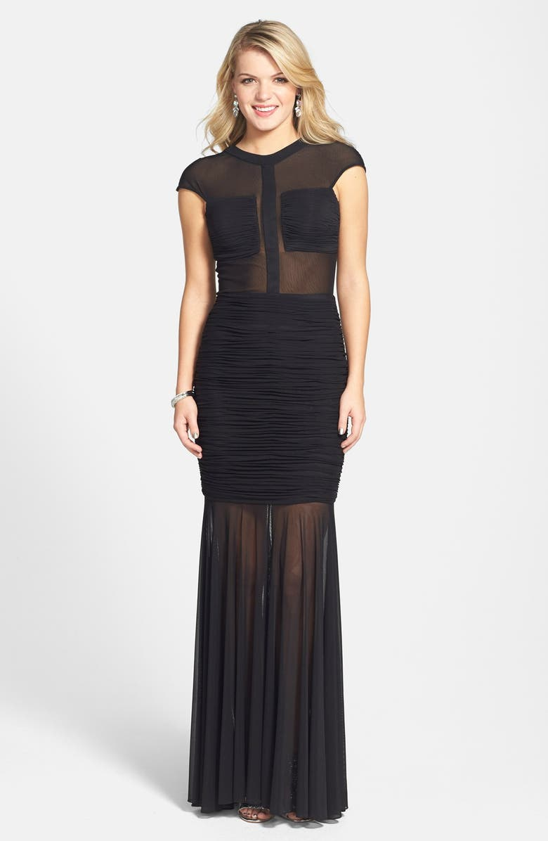 TERANI COUTURE Ruched Sheer Panel Trumpet Gown, Main, color, Black