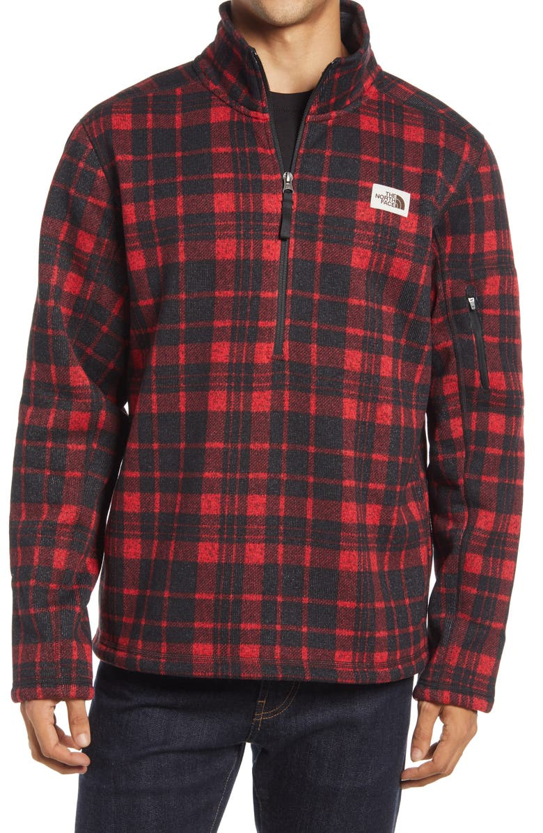 THE NORTH FACE Gordon Lyons Plaid Half-Zip Pullover, Main, color, TNF RED HERITAGE 2 PLAID PRINT