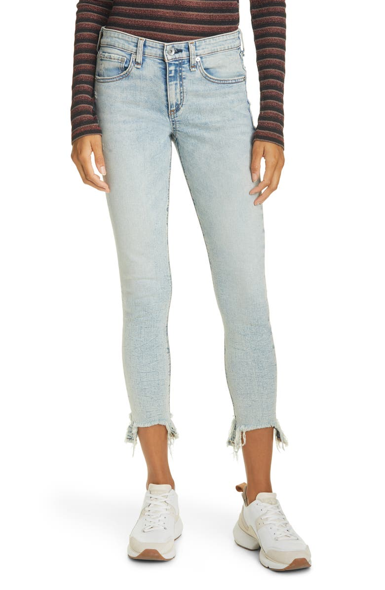 RAG & BONE Cate Mid Rise Frayed Ankle Skinny Jeans, Main, color, THUNDERBIRD