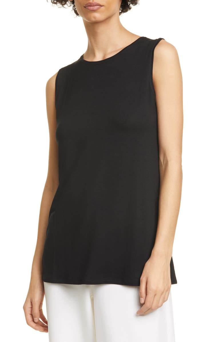 EILEEN FISHER Crewneck Long Tank Top, Main, color, 001