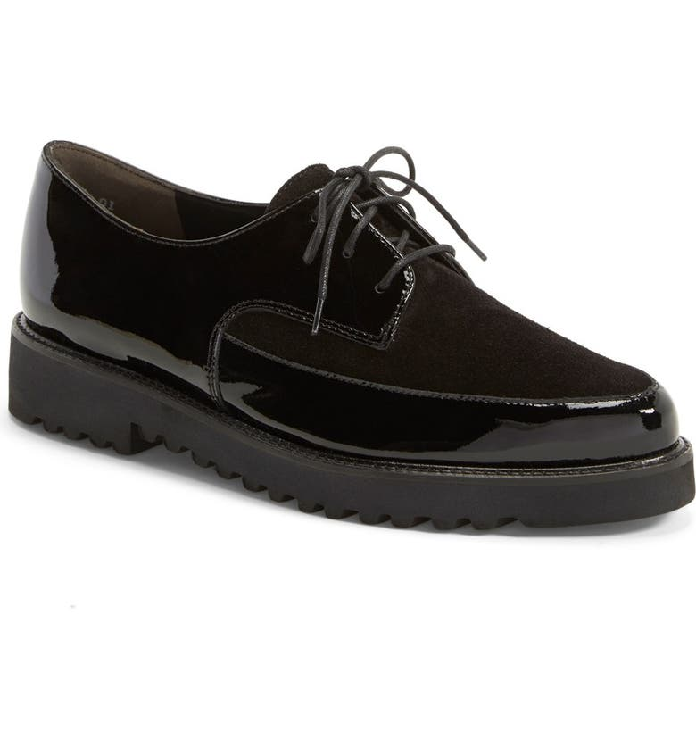 PAUL GREEN 'Donovan' Pointy Toe Lace-Up Flat, Main, color, BLACK PATENT LEATHER