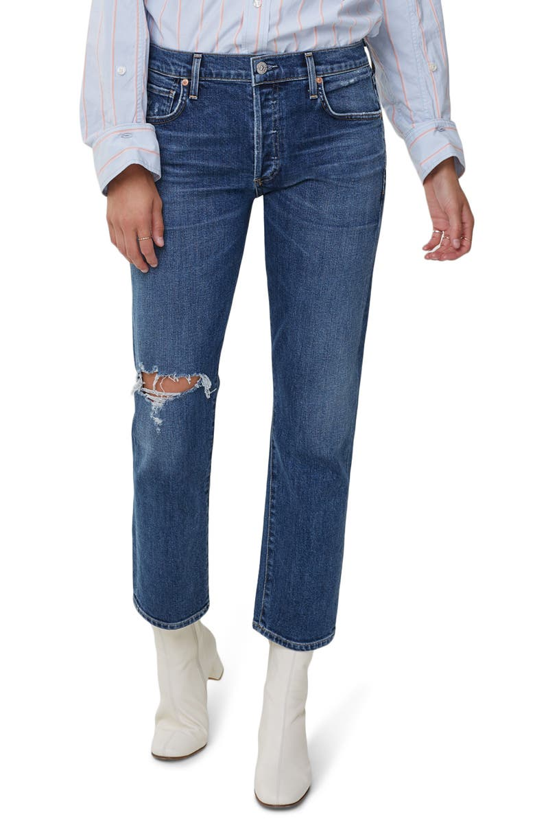 CITIZENS OF HUMANITY Emerson Ripped Ankle Slim Fit Boyfriend Jeans, Main, color, DISTRESSED TEMPO