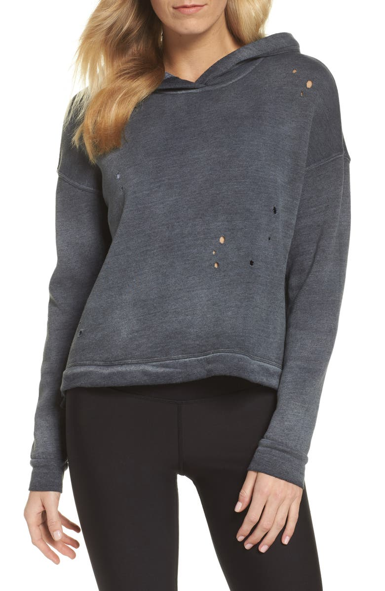 ALO Screenprint French Terry Crop Hoodie, Main, color, 040