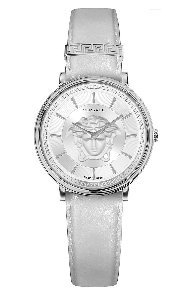 VERSACE Women's V-Circle Medusa Patent Leather Strap Watch, 38mm, Main, color, STAINLESS STEEL