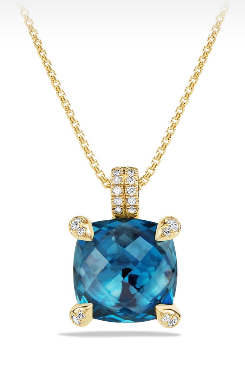 DAVID YURMAN Châtelaine Pendant Necklace with Diamonds, Main, color, HAMPTON BLUE TOPAZ