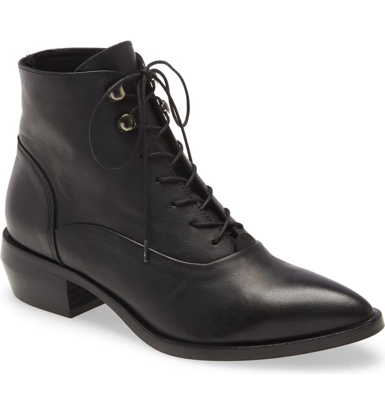INTENTIONALLY BLANK West Leather Bootie, Main, color, BLACK LEATHER