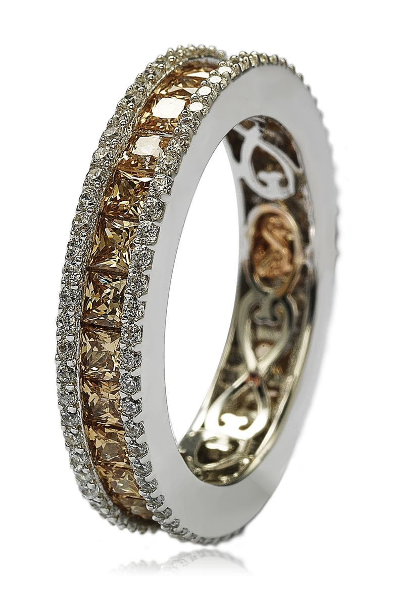 SUZY LEVIAN Brown & White CZ Band Ring, Main, color, BROWN