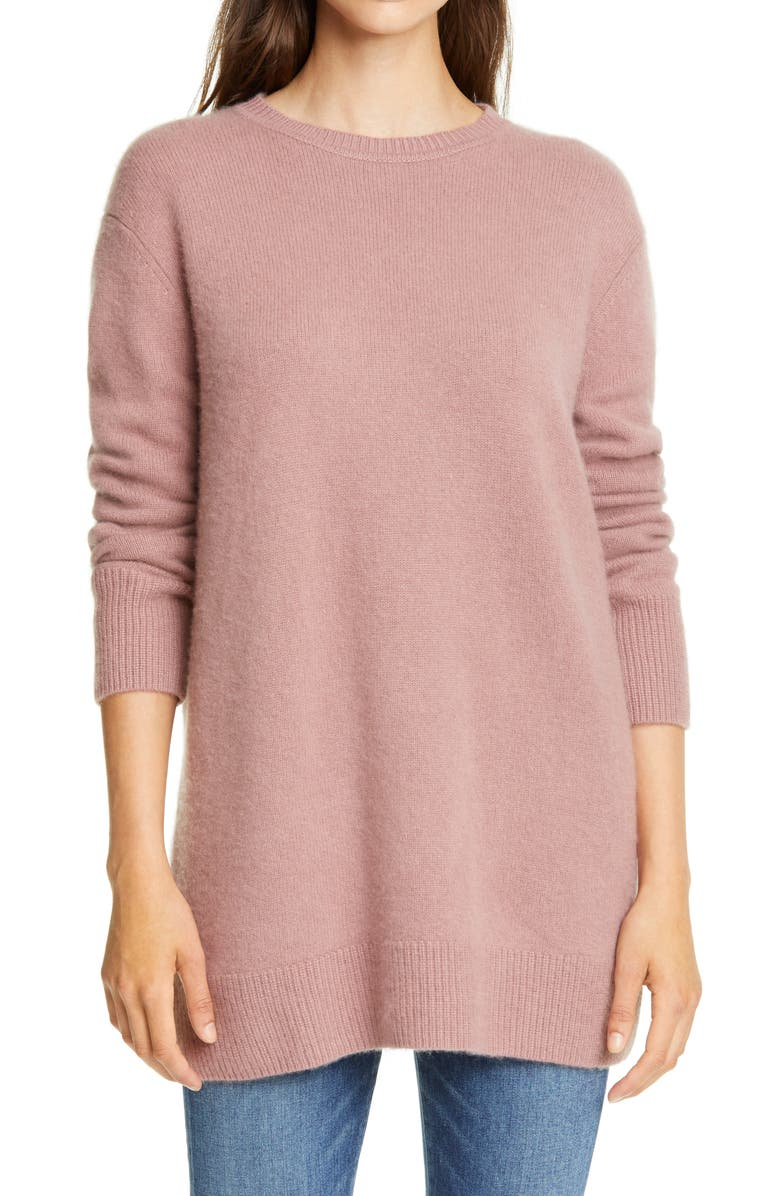 NORDSTROM SIGNATURE Cashmere Tunic Sweater, Main, color, PURPLE TAUPE