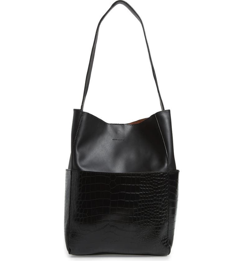 STREET LEVEL Croc Embossed Faux Leather Bucket Bag & Removable Pouch, Main, color, BLACK